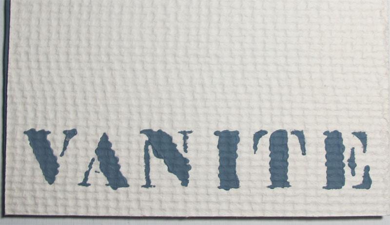 Vanité texte Villaume Typographie Guth détail
