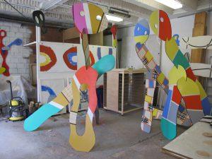 3 pélerins dans l'atelier à zone d'art avril 2015