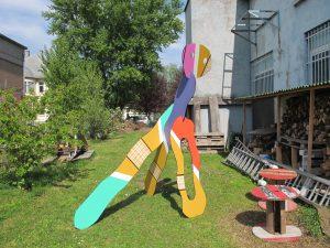 pélerin 2 , objet sculptural; CP. et acrylique avril 2015